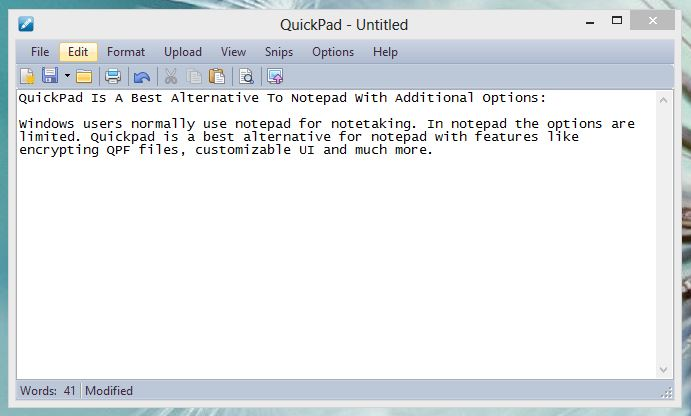 QuickPad UI