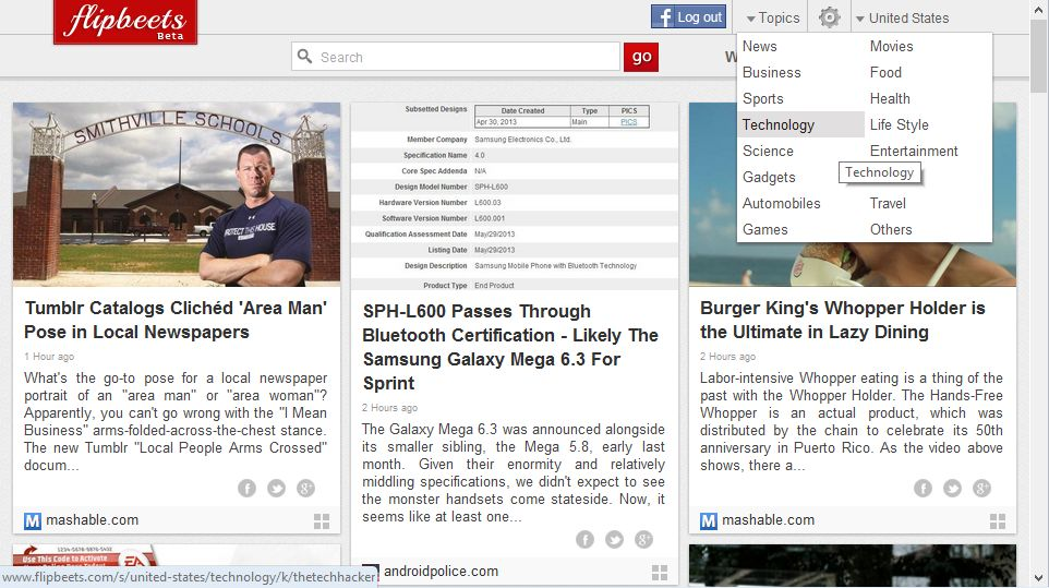 Read Latest Topic Based News In Browser In Magazine Style With Flipbeets thetechhacker