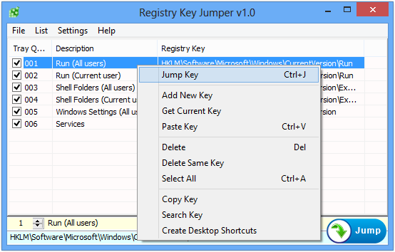Registry Key Jumper