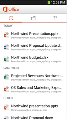 Android Office 365 UI