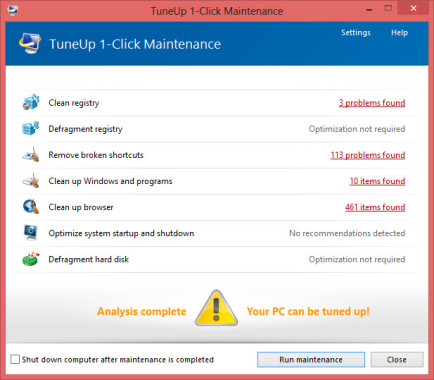 1 Click Maintainance Scanning Results