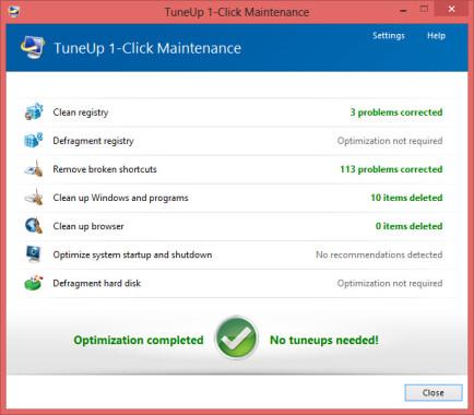 1 Click Maintenance Results