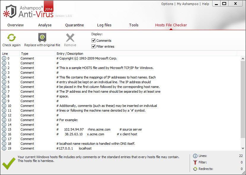 Ashampoo Hosts File Checker