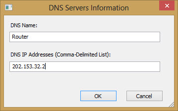 Adding New Server Address in QuickSetDNS