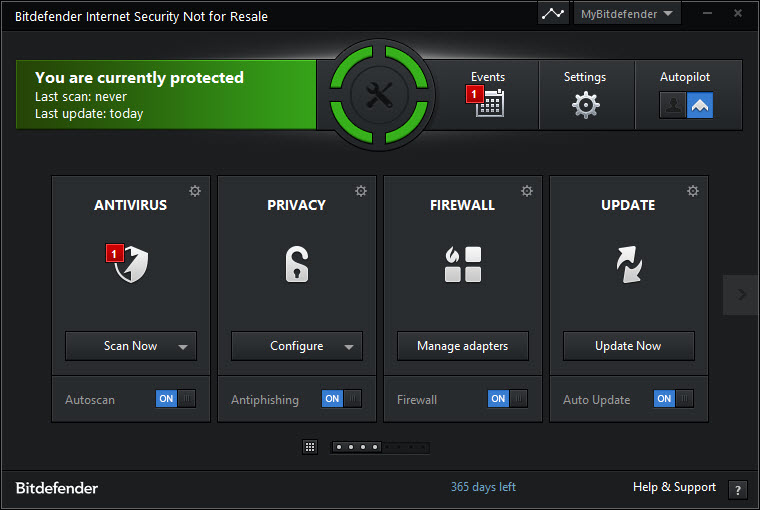 Bitdefender Homescreen