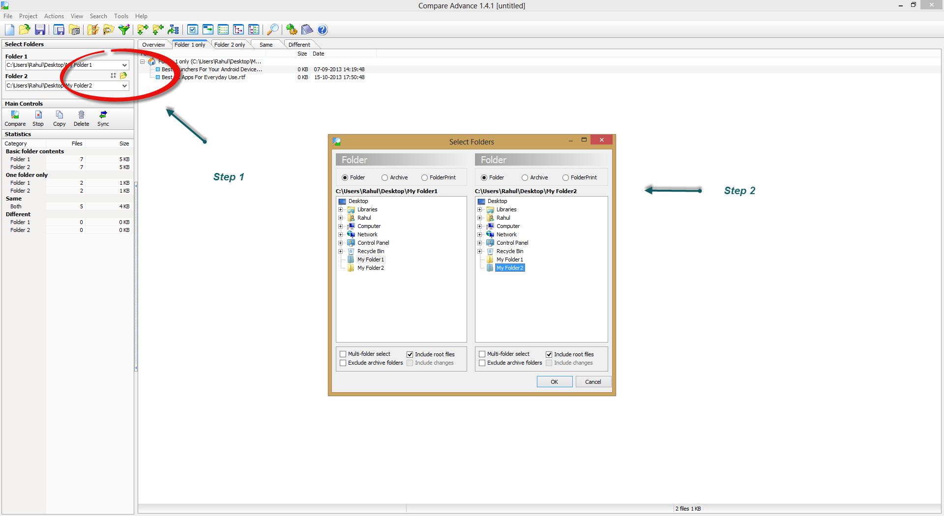 Selecting Folders