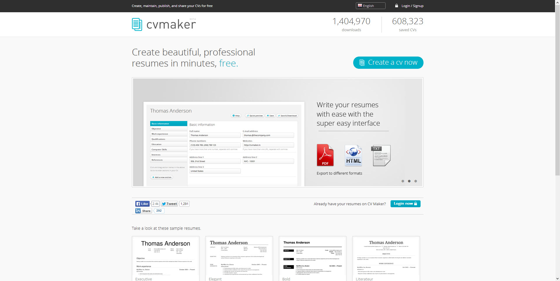 best websites for resume building cv maker