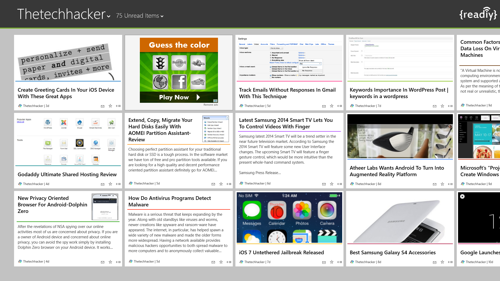 Readiy Is A Decent Feedly Client For Windows 8 & RT