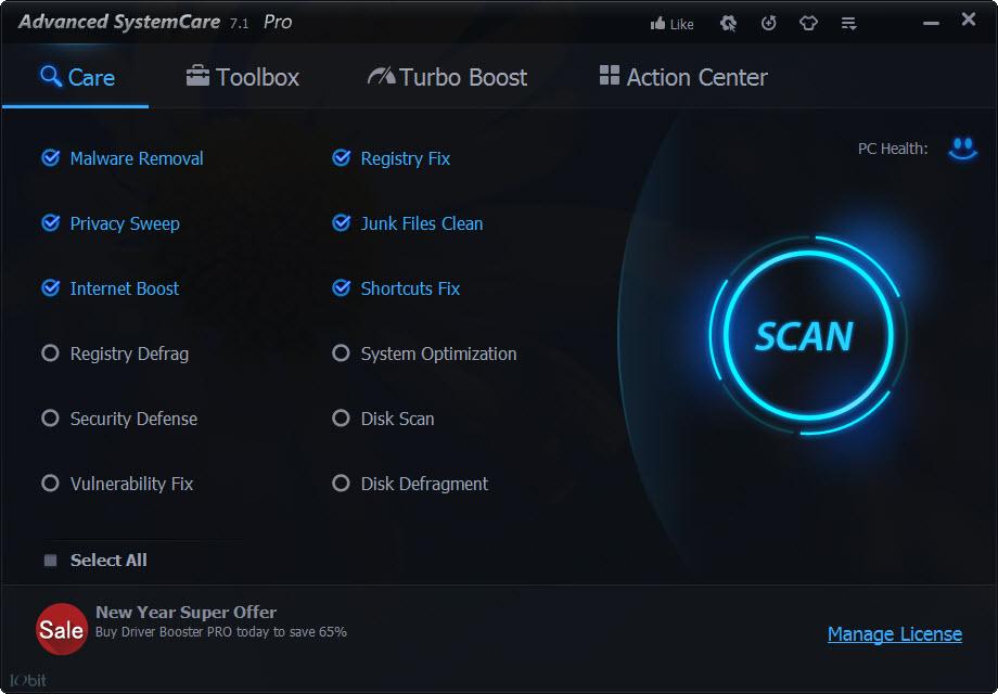 Advanced SyastemCare Pro Main UI