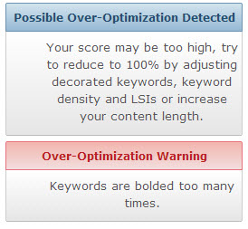 Over Page Optimization Warning
