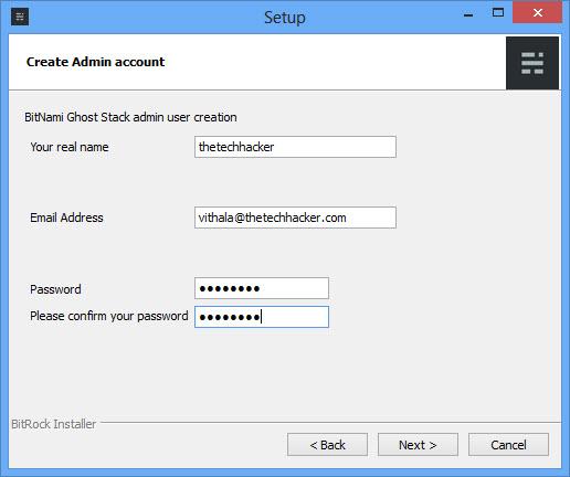 Ghost Admin Account Creation