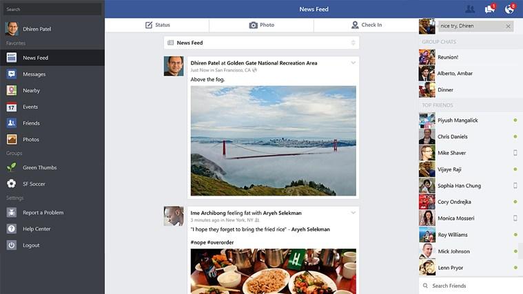 The official Facebook Windows 8 App