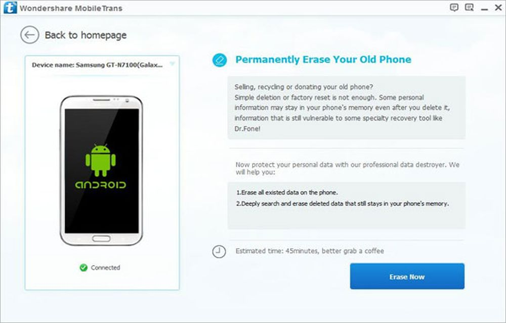 Wondershare MobileTrans Erase Your Old Phone