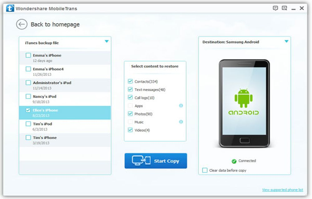 Wondershare MobileTrans Restore Files