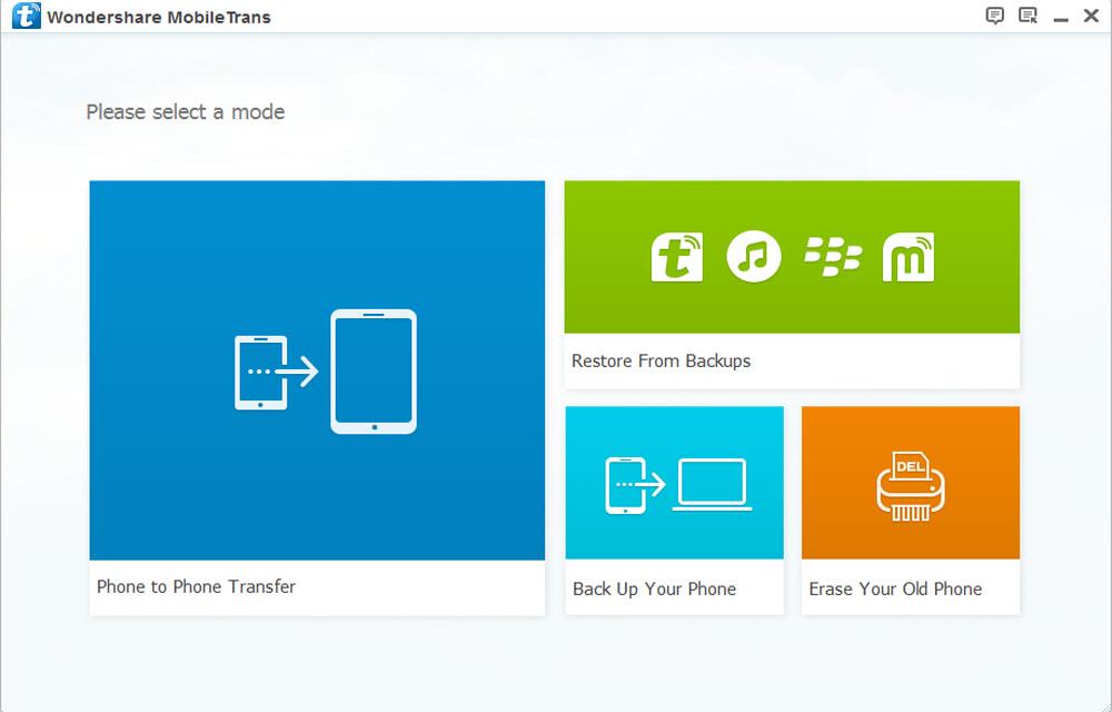 Wondershare Mobiletrans Main User Interface