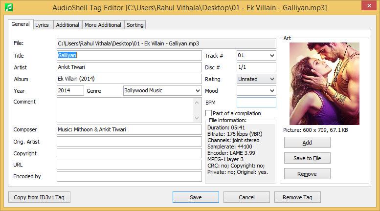 AudioShell Tag Editor UI