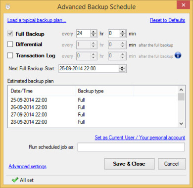 Advance Backup Schedule option in SQLBackupAndFTP