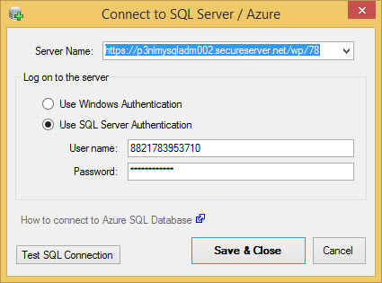 SQL Server Azure Connection
