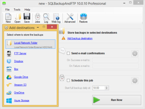 SQLBackupAndFTP Backup Destinations