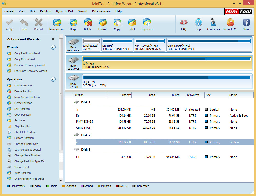 MiniTool Partition Wizard Professional Edition User Interface