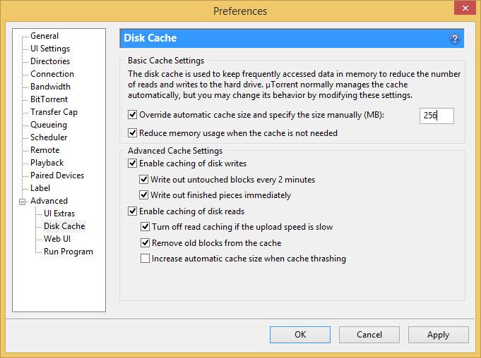 Disk Cache in uTorrent