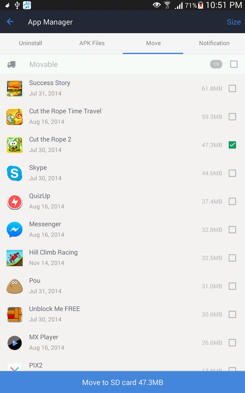 how to move apps from internal memory to sd card