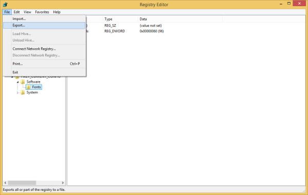 Registry Editor Export
