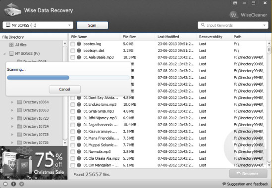 Wise Data Recovery Scanning