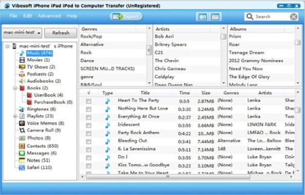 iPhone Music Export or Backup using Vibosoft