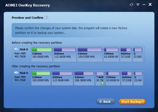 AOMEI OneKey Recovery Options