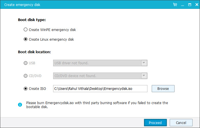 Emergency Disk Creation Tool