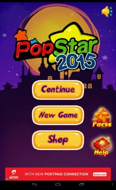 PopStar2015 Home Screen