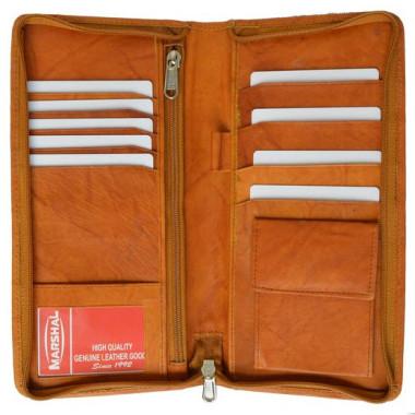 Zip Around Leather Travel Wallet