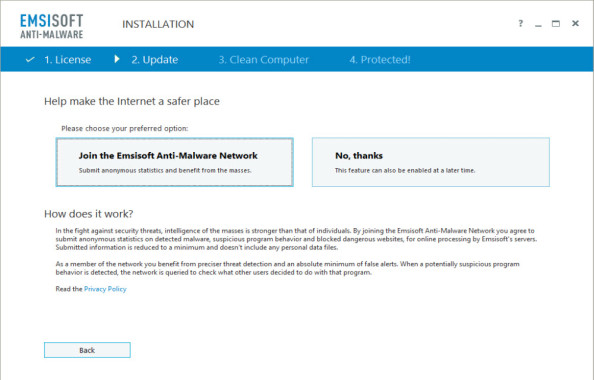 Installation of Emsisoft Anti-Malware