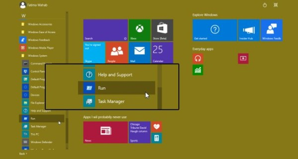 How To Open Run Command Box From Start Menu In Windows 10