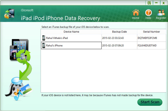 iStonsoft iPad iPod iPhone Data Recovery UI