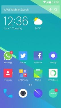 APUS Launcher homescreen