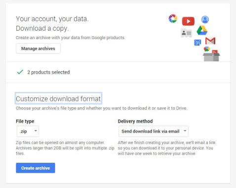Google Data Download Zip file