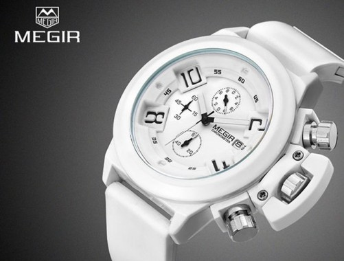 Megir White Watch