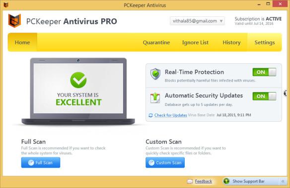 PCKeeper Antivirus Pro User Interface