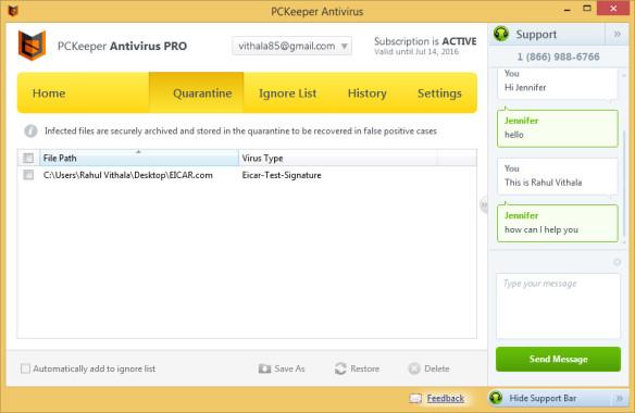 PCKeeper Quarantine List