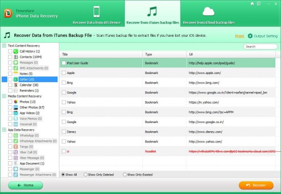 Recover from iTunes Backup File