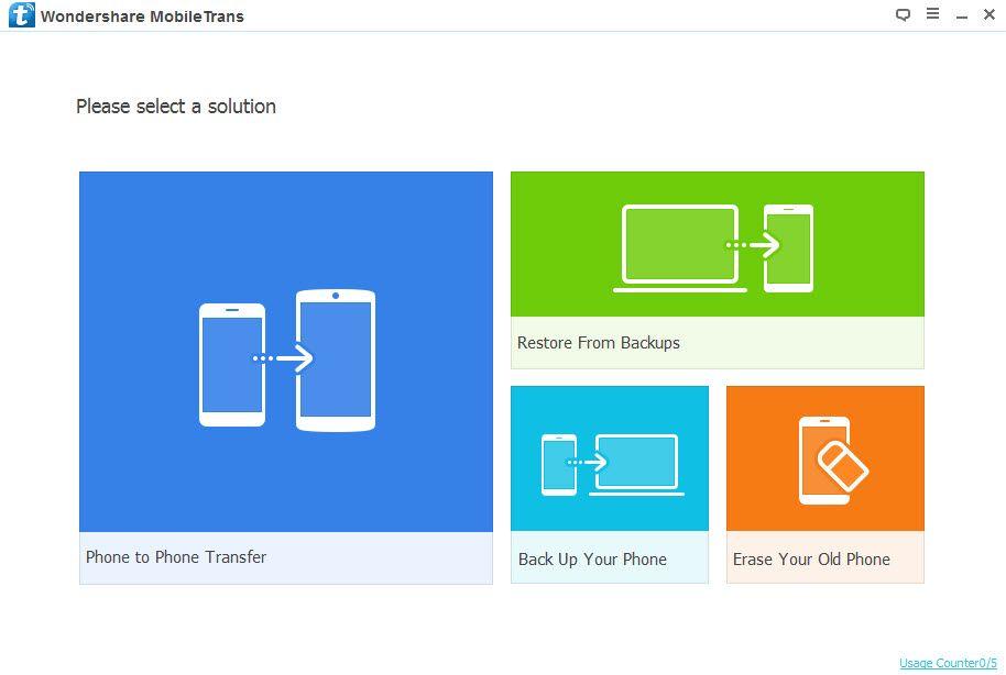 Wondershare MobileTrans Home Screen