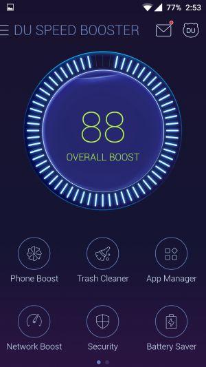 DU Speed Booster User Interface