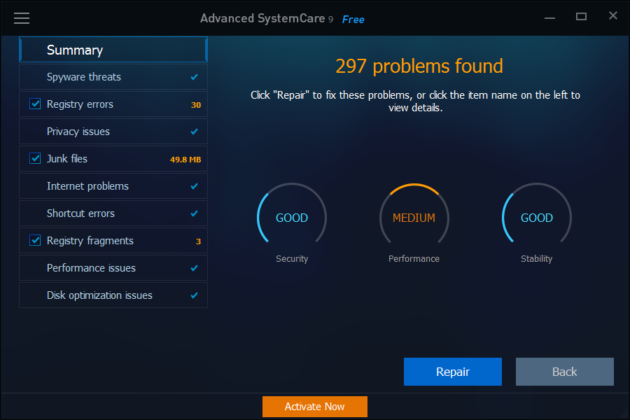 iobit-advanced-systemcare-9-classic-clean-and-optimize-dashboard-summary