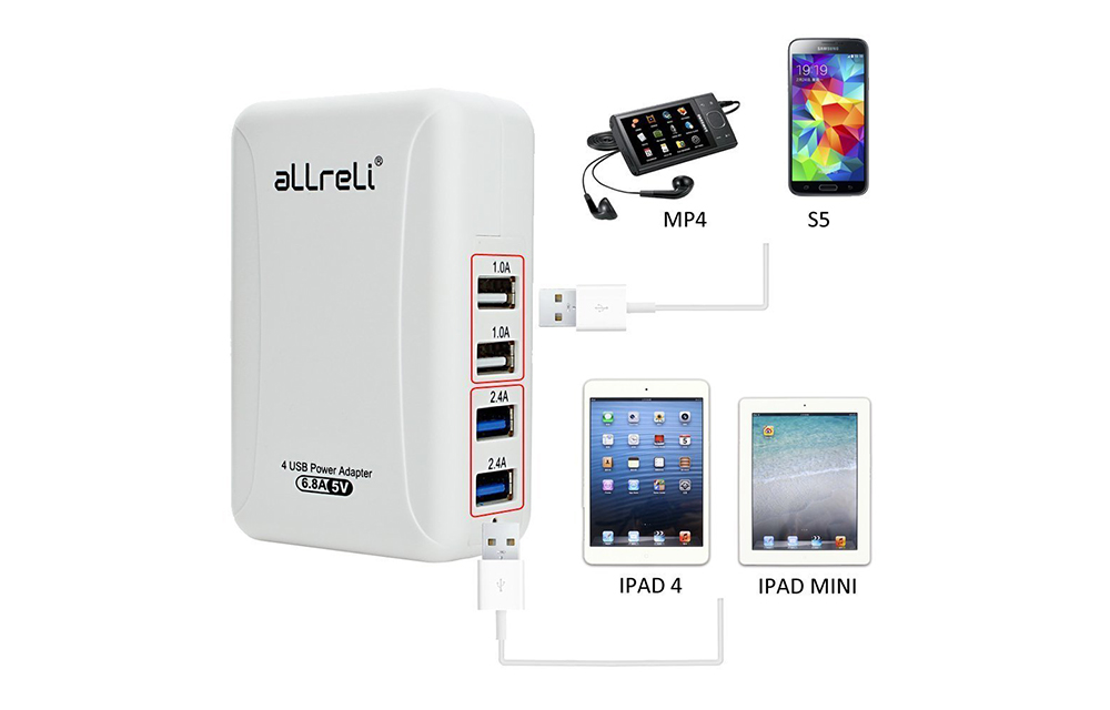 aLLreLi 34W 6 8A 4-Port USB Wall Charger-1