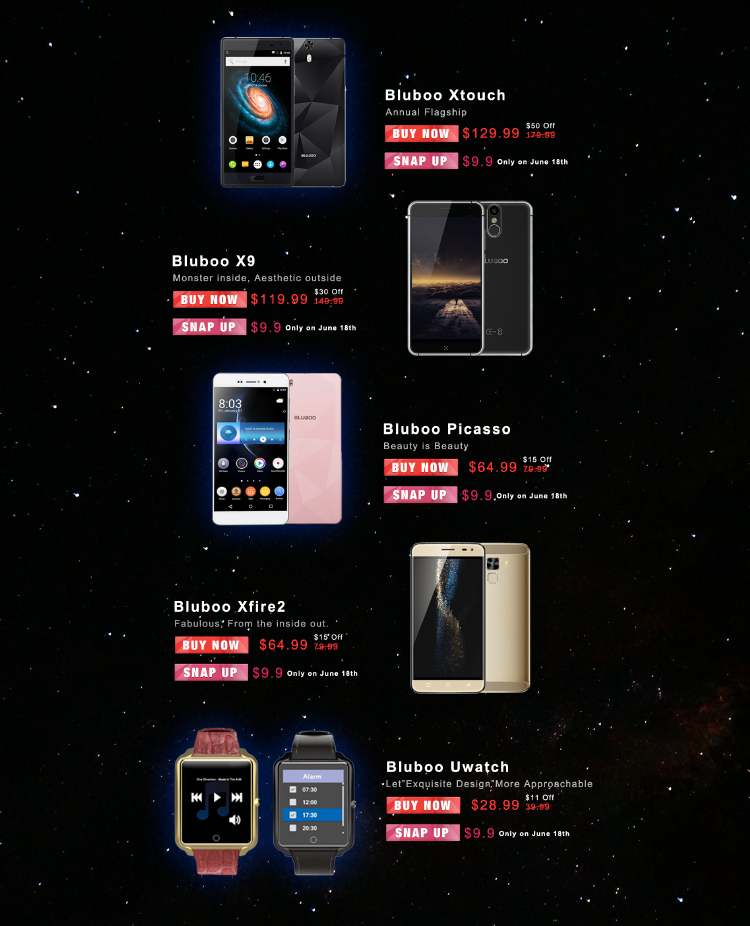 Bluboo Anniversary Celebration, Snap up all Bluboo devices at 9-9