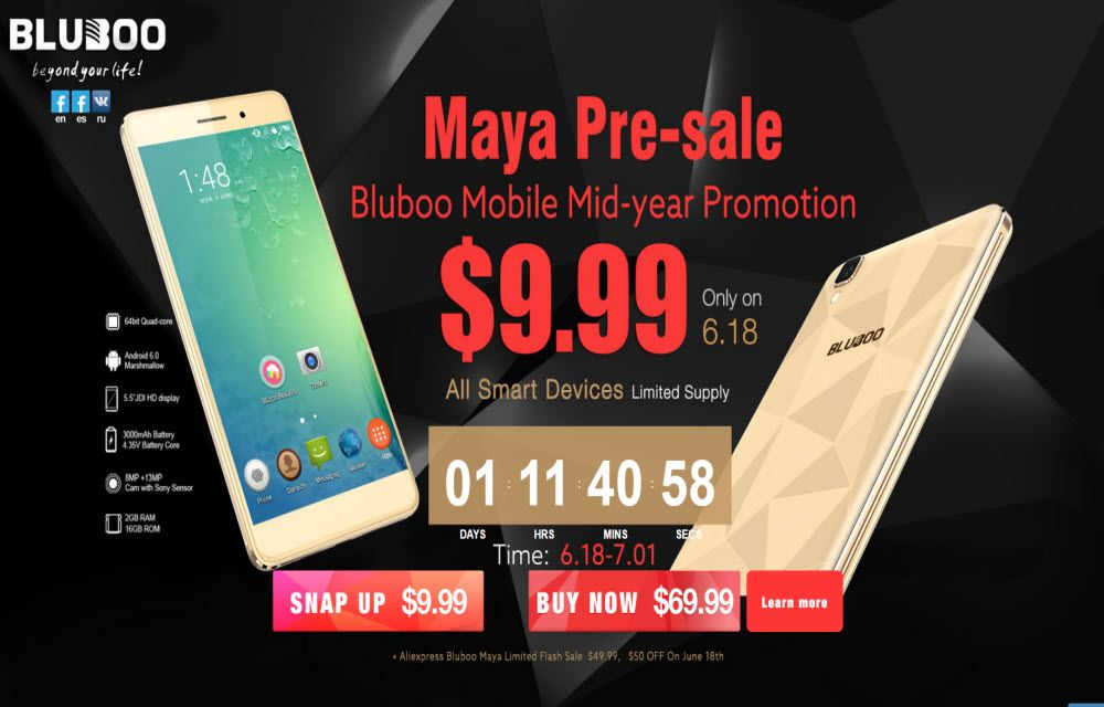 Bluboo Maya Hammer Proof Smartphone on $9.99 special Deal with Gifts