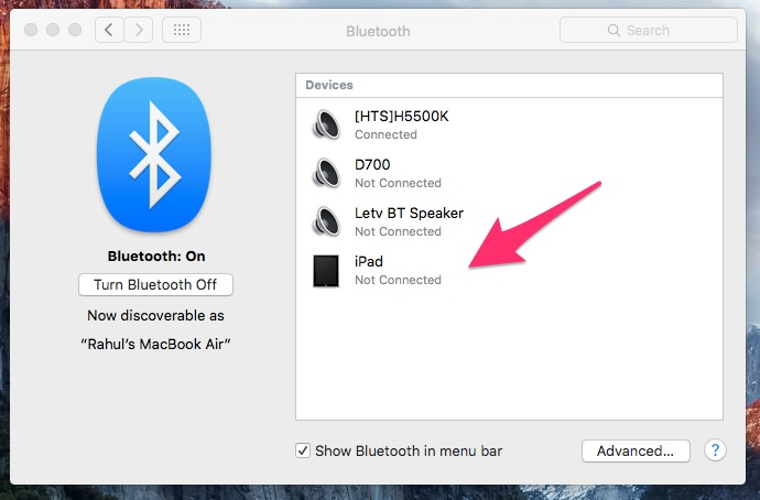 Bluetooth Setting on Mac