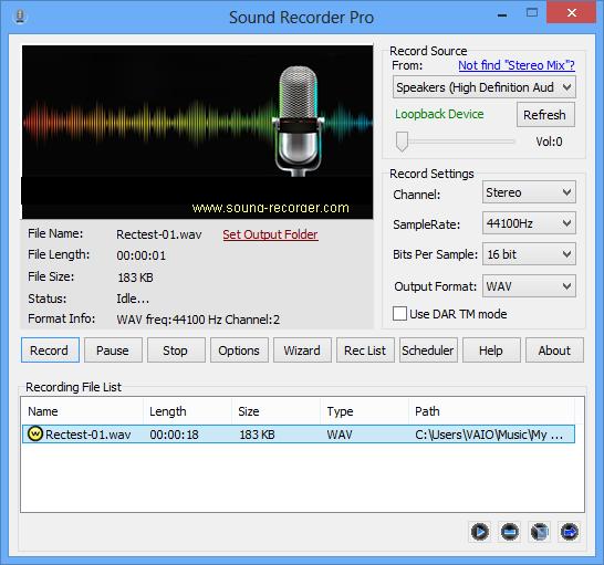 Recording list